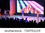 group of girls with hoops.... | Shutterstock . vector #734701219