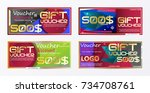 gift voucher gold template... | Shutterstock .eps vector #734708761
