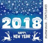happy new year. seasons... | Shutterstock .eps vector #734711455