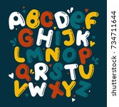 english alphabet vector ... | Shutterstock .eps vector #734711644