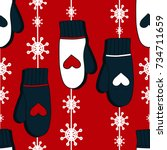 seamless pattern with mittens.... | Shutterstock .eps vector #734711659