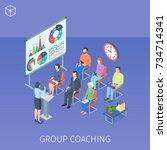 isometric banner on theme group ... | Shutterstock .eps vector #734714341