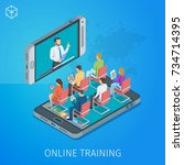 banner on theme online training.... | Shutterstock .eps vector #734714395