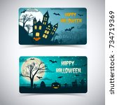 happy halloween banners with... | Shutterstock .eps vector #734719369