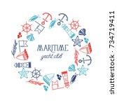 maritime yacht club round frame ... | Shutterstock .eps vector #734719411