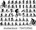 50 high quality bicyclists... | Shutterstock .eps vector #734719561