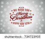 merry christmas vector text... | Shutterstock .eps vector #734723935