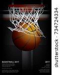 basketball poster advertising... | Shutterstock .eps vector #734724334