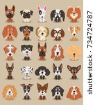 cute dogs  different breeds of... | Shutterstock .eps vector #734724787