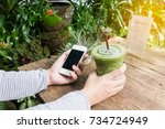 hand hold smartphone or mobile... | Shutterstock . vector #734724949