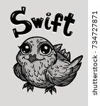 bird swift. print  cards ... | Shutterstock .eps vector #734727871