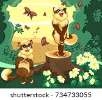 two cats in the forest is... | Shutterstock .eps vector #734733055