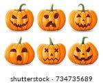 set of halloween pumpkins ...