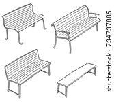 vector set of bench | Shutterstock .eps vector #734737885