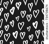 hand drawn texture. hearts ... | Shutterstock .eps vector #734738674