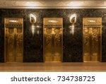 golden elevators with relief... | Shutterstock . vector #734738725