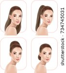 beautiful women with hairstyles ... | Shutterstock .eps vector #734745031