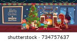merry christmas and happy new... | Shutterstock .eps vector #734757637