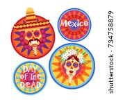day of dead traditional mexican ... | Shutterstock .eps vector #734758879