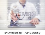 electronic health record. ehr ... | Shutterstock . vector #734760559