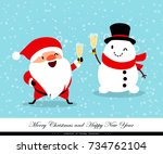 santa claus and snowman with... | Shutterstock .eps vector #734762104