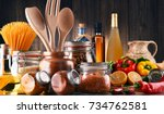 composition with assorted food... | Shutterstock . vector #734762581