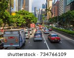 hong kong  oct 14 2017 traffic... | Shutterstock . vector #734766109