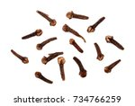dry spice cloves isolated on... | Shutterstock . vector #734766259