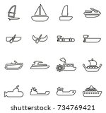 water transport  icons thin... | Shutterstock .eps vector #734769421