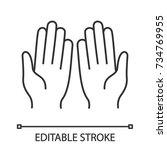 muslim praying hands linear... | Shutterstock .eps vector #734769955