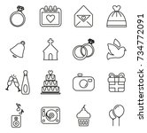 wedding icons thin line vector... | Shutterstock .eps vector #734772091