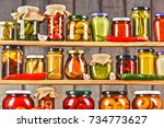 jars with variety of pickled... | Shutterstock . vector #734773627