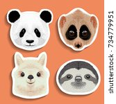 stickers set  panda slow loris  ... | Shutterstock .eps vector #734779951