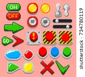 pixel art arrows  buttons ... | Shutterstock .eps vector #734780119