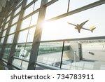 airport terminal at sunset...   Shutterstock . vector #734783911