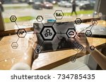 iot  automation  industry 4.0.... | Shutterstock . vector #734785435