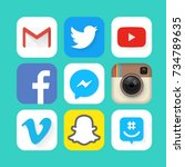 collection of popular social... | Shutterstock . vector #734789635