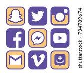 collection of popular social... | Shutterstock . vector #734789674