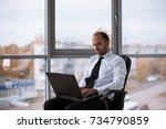 businessman working in office... | Shutterstock . vector #734790859
