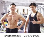 portrait of two young asian... | Shutterstock . vector #734791921