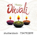 happy diwali | Shutterstock .eps vector #734792899