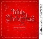 merry christmas lettering red... | Shutterstock .eps vector #734792947
