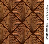 carved geometric pattern on... | Shutterstock . vector #734793217