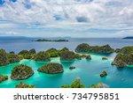 pianemo islands  blue lagoon... | Shutterstock . vector #734795851