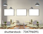 three blank horizontal posters... | Shutterstock . vector #734796091