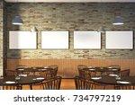 modern restaurant interior with ... | Shutterstock . vector #734797219