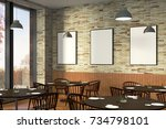 modern restaurant interior with ... | Shutterstock . vector #734798101