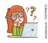 freelance hipster girl have a...   Shutterstock .eps vector #734799871