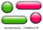 glossy buttons with metallic ... | Shutterstock .eps vector #734801179