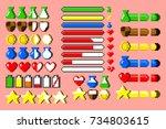 big set of 8 bit elements  life ... | Shutterstock .eps vector #734803615